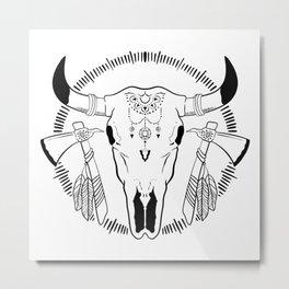 Bull Skull Head Boho Western tomahawk feathers  Metal Print