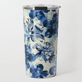 Shibori Inspired Oversized Indigo Floral Travel Mug