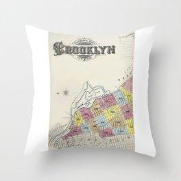 Very Old New York, Brooklin map Throw Pillow
