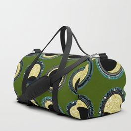 solar eclipse mandala green Duffle Bag