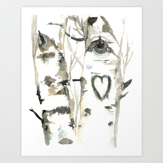 Winter Romance Birch Forest  Art Print
