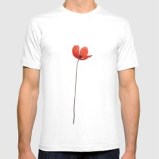 Simply poppy MEDIUM Mens Fitted Tee White