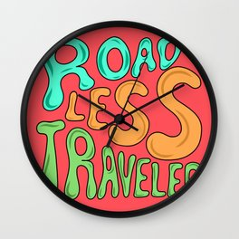 Road Less Traveled Quote Word Lettering Illustration  Wall Clock