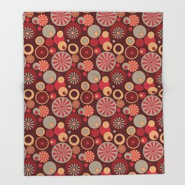 Circle Frenzy - Red Throw Blanket
