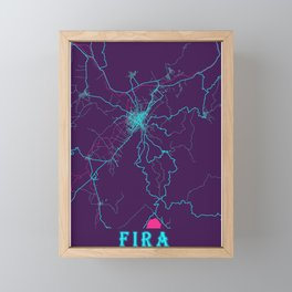 Fira Neon City Map, Fira Minimalist City Map Art Print Framed Mini Art Print