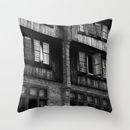 Windows in an Old Bar Throw Pillow