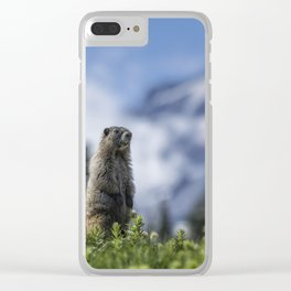 Marmot Checking Out His Neighborhood at Mount Rainier, No. 3 Clear iPhone Case
