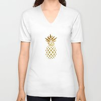 golden V-neck T-shirts featuring Golden Pineapple by Pati Designs