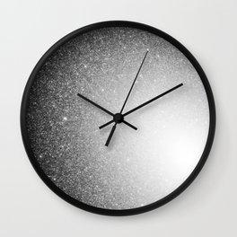 Galaxy Stars Ombre : Black Slate Gray Wall Clock