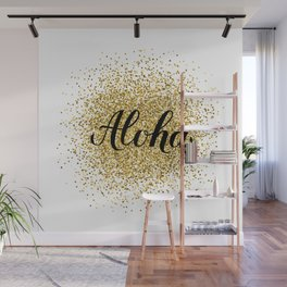 Aloha calligraphy lettering on gold glitter textured background. Wall Mural