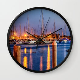 Marina Del Rey Harbor At Night Wall Clock