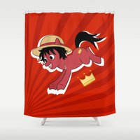 luffy Shower Curtains featuring OP Pony Luffy by AbigailC