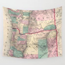 Vintage Map of Washington and Oregon (1875) Wall Tapestry