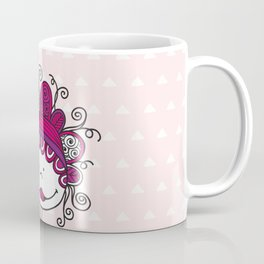 Doodle Doll with Curls on Pink Background Coffee Mug
