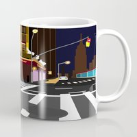 broadway Mugs featuring BROADWAY KISS by Alfred Fox Art & Photography