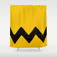 charlie brown Shower Curtains featuring Charlie Brown by Aaron Lockwood
