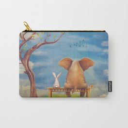 Elephant and rabbit sit on a bench on the glade Carry-All Pouch