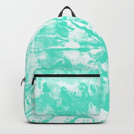 Pastel Blue Green Tie-Dye Colored Pattern Design // Hand Painted Mandala Multi Media Abstract Backpack
