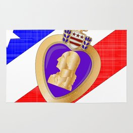 Flag and Purple Heart Rug