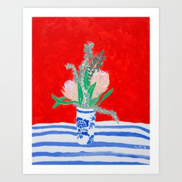 Protea Still Life in Red and Delft Blue Art Print