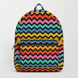 Happy Zigzag on Black Backpack