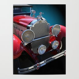 Vintage Red Touring Automobile Poster