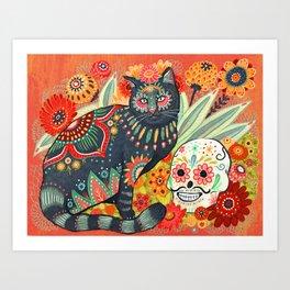 Dia De Los Muertos Cat Art Print