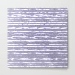 Lavender & White Striped Texture Metal Print