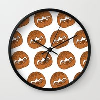 sloths Wall Clocks featuring So Many Sloths by tripinmidair