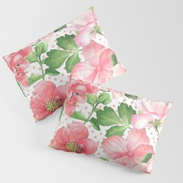 Pink Flowers on Pink Polka Dots Pillow Sham