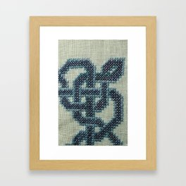 Celtic Knot Cross Stitch in Blue Framed Art Print