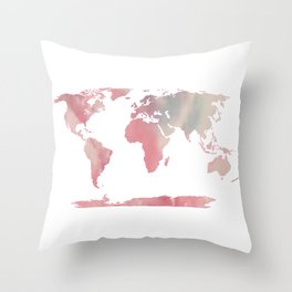 Watercolor Map of World 1 Throw Pillow