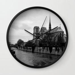 Notre Dame de Paris View from Seine River Paris Wall Clock