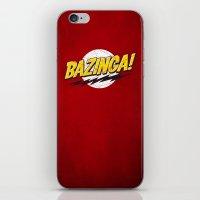 bazinga iPhone & iPod Skins featuring Bazinga Flash by Nxolab