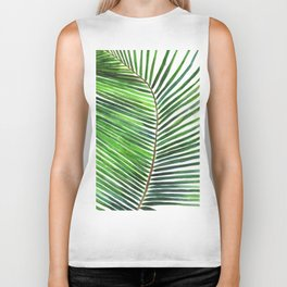 Palm watercolor leaf- Tropical print Biker Tank