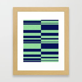 Abstract striped pattern. blue and green . Framed Art Print