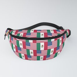 Mix of flag : mexico and usa Fanny Pack