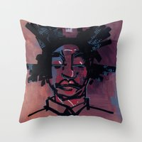basquiat Throw Pillows featuring basquiat by joseph arruda (zeruch)