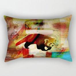 Red Panda Abstract  mixed media art collage Rectangular Pillow