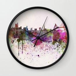 Hamburg skyline in watercolor background Wall Clock