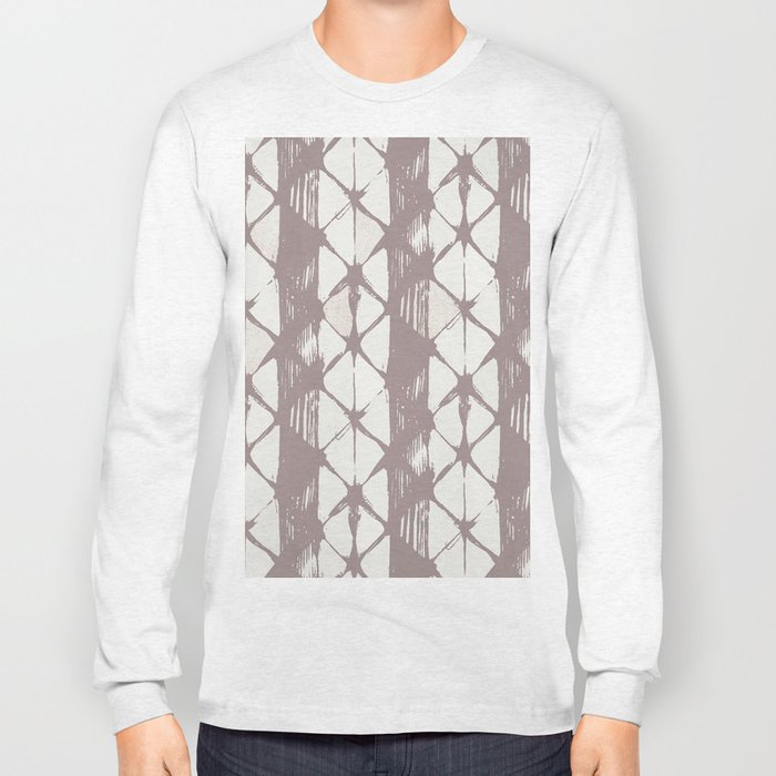 Simply Braided Chevron Red Earth on Lunar Gray Long Sleeve T-shirt