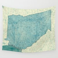 georgia Wall Tapestries featuring Georgia Map Blue Vintage by City Art Posters