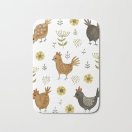 chicken floral Bath Mat