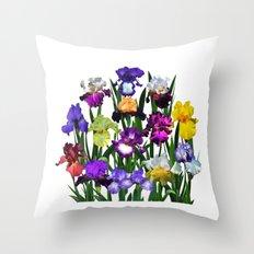 Iris garden Throw Pillow