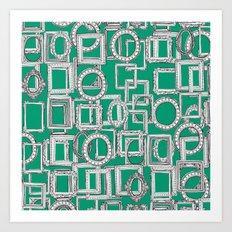 picture frames aplenty green Art Print