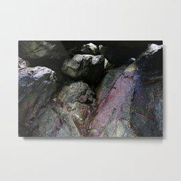 Ocean Weathered Cave Rock Formation Cornwall Metal Print