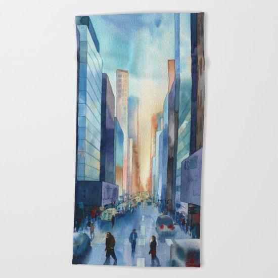 New York. Streets Beach Towel