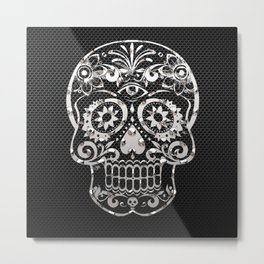 Skull 04,black silver metal art Metal Print