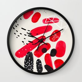 Fun Mid Century Modern Abstract Minimalist Vintage Black Red Indigenous Pebbles Geometric Pattern Wall Clock