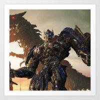 optimus prime Art Prints featuring Optimus Prime by Tom Lee